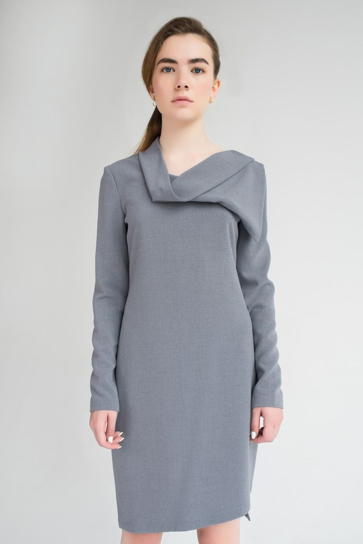 дизайнерская стильная модная женская оригинальная красивая красивая трендовая Amoril одежда серый серо-голубой спереди рукав костюмная вискоза асимметричное воротник оригинальное комфортное элегантный стильный модный дизайнерский оригинальный универсальный красивый трендовый