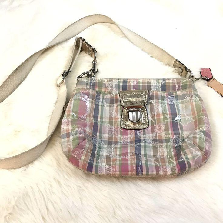 "Small Authentic Coach Swingpack Crossbody Bag Multicolor Plaid 9""x7.25""  | eBay"