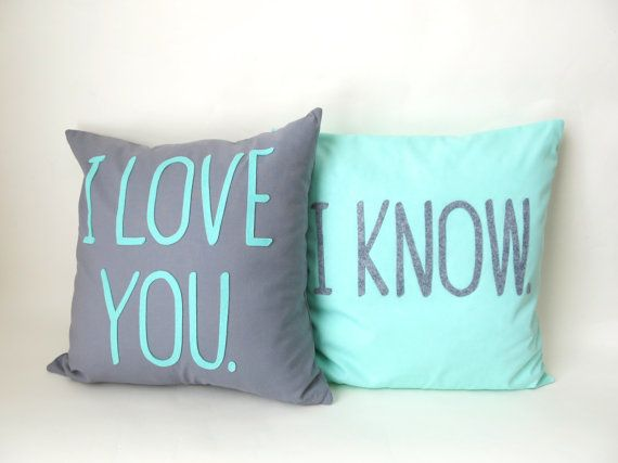 Star Wars Pillow - Grey & Mint - Set of 2- 16 x16 - I Love you, I know. Modern Throw Pillow Covers. on Etsy, $80.00