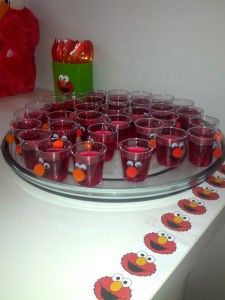 Elmo Party Food Platters Of Jello Cups Birthday IdeasElmo