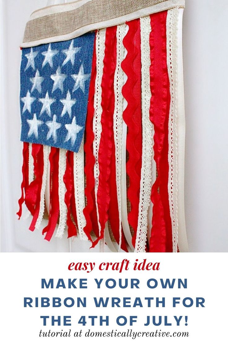 An easy 4th of July craft to make your own ribbon flag wreath. Hang it on your door or anywhere in your home to display…