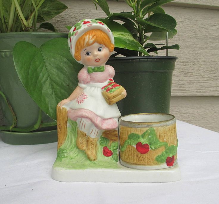 Vintage Strawberry Patches Girl, 1980 Jasco Strawberry Patches,1980 Jasco Porcelain,Porcelain Girl Rabbit, Strawberry Patches, Vintage Jasco by MyGrandmothersHouse on Etsy