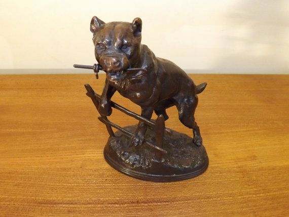 Stunning Quality Bronze Bull Mastiff Dog Perched on a Fence. 1880's