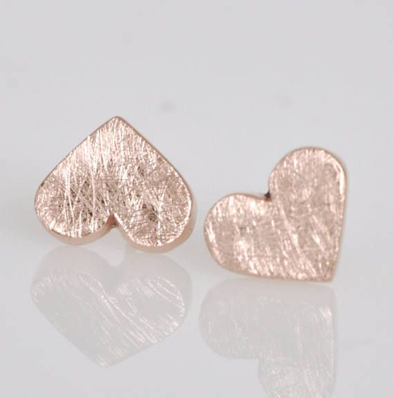 Rose Gold Heart Earrings    14k Rose Gold Earring  Rose Gold