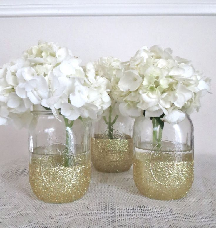 Glittered Mason Jars - Wedding Decor - 3 Piece Set - Mason Jars - Centerpiece - Wedding Centerpiece