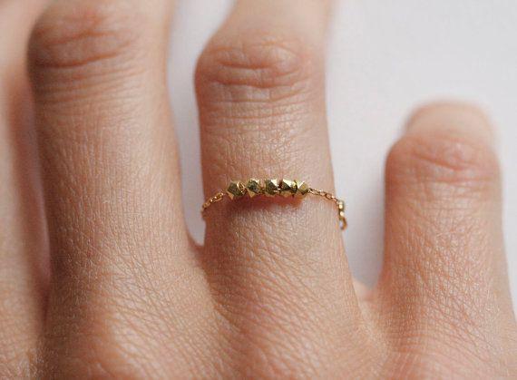 Bague en or minimaliste pépites d'or bague anneau de par MinimalVS