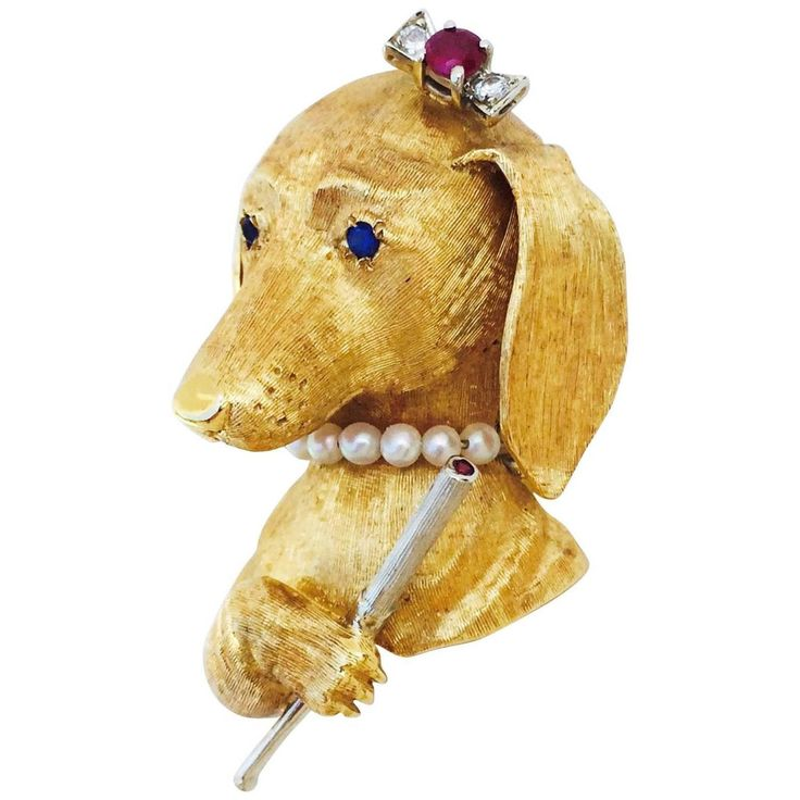 Whimsical  Jeweled Smoking Lady Dachshund Dog Brooch Pin | From a unique collection of vintage brooches at https://www.1stdibs.com/jewelry/brooches/brooches/