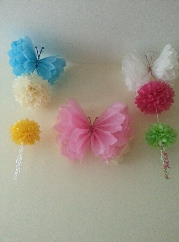 80 best images about party wedding baby shower for Hanging pom poms from ceiling
