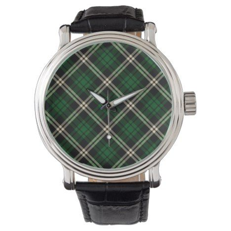 Black & Green Tartan   Men's Watch #tartan #pattern #watches