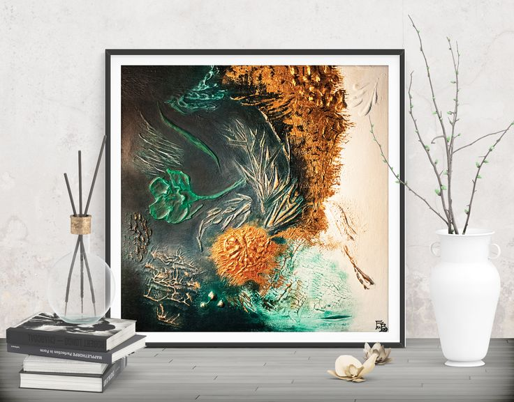 Add an inspiring natural touch to your walls! Green gold abstract -Originals and prints by FraBorArt at SAATCHI.  #walldecor #homedecor #interiordesign #painting #modernart #abstract #minimalist #art #green #gold #square #mixedmedia #textured #original #conceptual #style #design #fraborart #saatchi #saatchiart #saatchiartist #saatchigallery #saatchiartilove