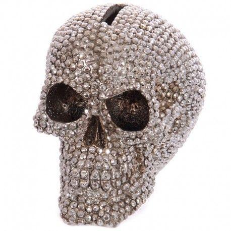 Tirelire Crâne Sertie Argentée 12cm