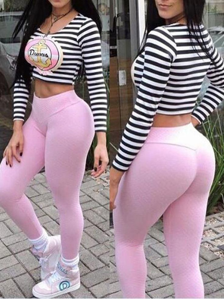 Pink Pants Stripe Cropped Sets