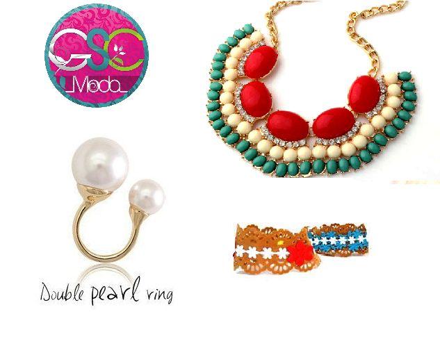 Tenemos un #look #fresco y colorido para el día de hoy #anillo doble perla #dobleperla #pulseras t #collar para una mujer #fashion #actual y a la #moda www.gscmoda.com #accesorios #bisuteria #moda #venezuela #ventas #mayor #caracas #ccs #vzla www.gscmoda.com