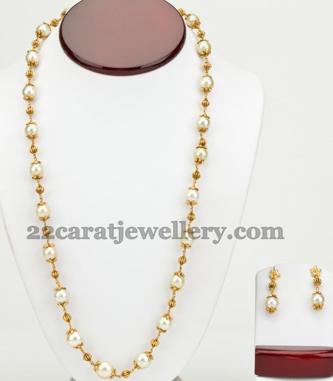 Simple Pearls Beads Set with Tops | Jewellery Designs