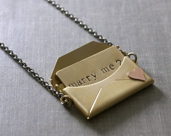 Engagement necklace marry me envelope locket gift for her love brass copper heart retro Valentines Day