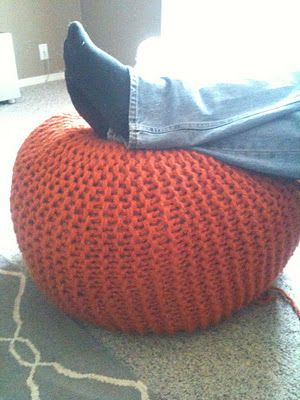 Knitted Ribbing Patterns : How to Make a Knitted Pouf Ottoman @Home Ec Flunkee *great tutorial - helps c...