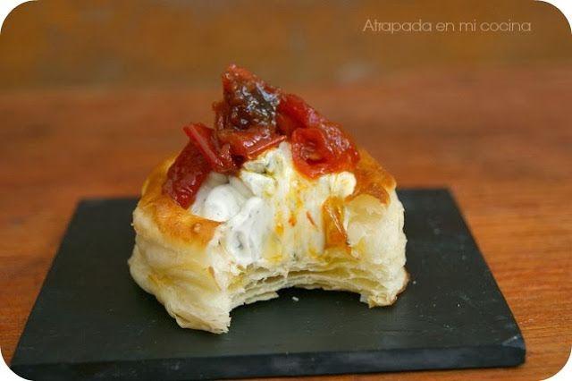 Volauvent casero con crema de queso y pimiento for Canapes pronounce