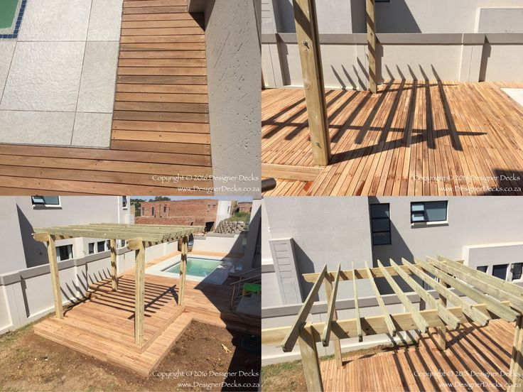 Unsealed Balau pool deck and CCA treated pine pergola at completion in Lone Hill