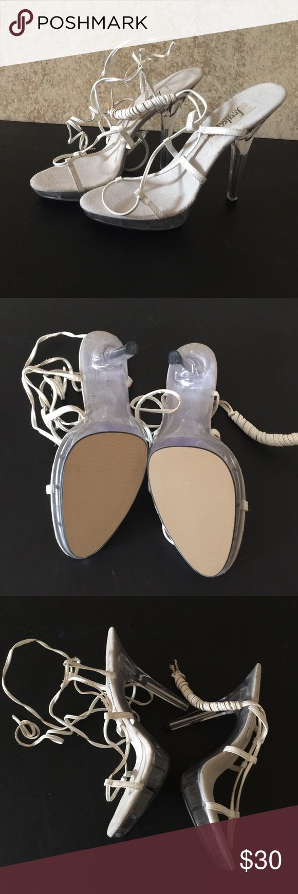 """Frederick's of Hollywood  white lace up heels 10 Brand new lace up heels. Clear 3.5"""" heel with 2"""" flatform. I measure the heel from the inside not the backside. White leather tie up. Size 10 Frederick's of Hollywood Shoes Heels"""
