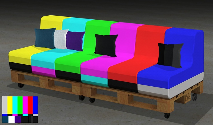 Do adjust your setee!  SMPTE Test Card Sofa: A modular sofa on pallets with castor wheels by knuk.org