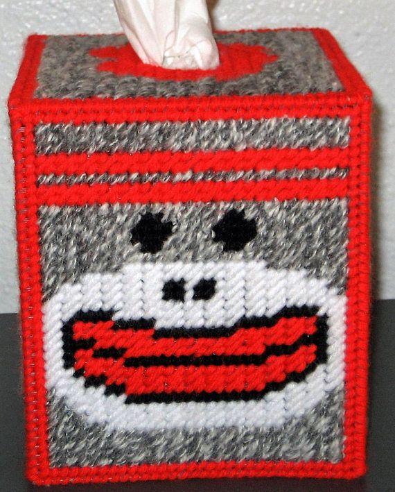 SOCK MONKEY Fun Boutique Size Tissue Box Cover Child's