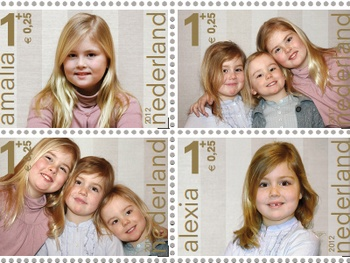 Stamps dating from 2012. These are Amalia, Alexia and Ariane, daughters of crown prince Willem Alexander and princess Máxima. The pictures were taken by our king to be himself. #greetingsfromnl