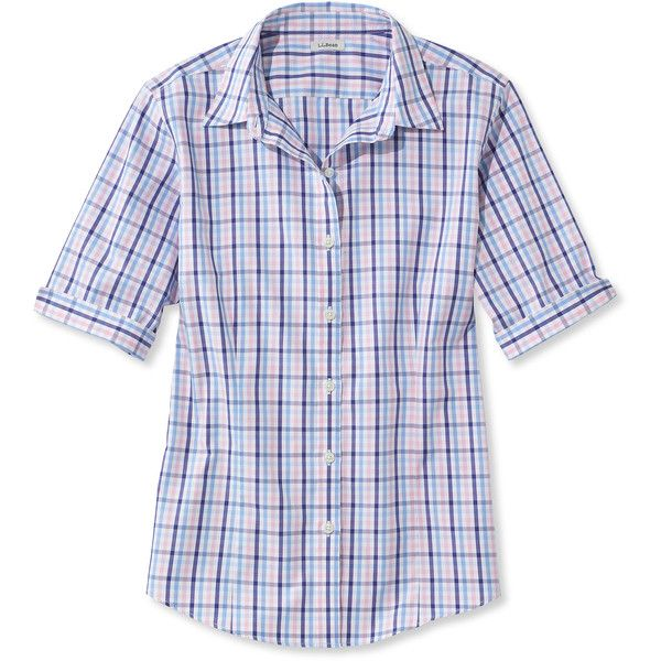 L.L.Bean Women's Wrinkle-Free Pinpoint Oxford Shirt, Elbow Sleeve... ($45) ❤ liked on Polyvore featuring tops, petite shirts, petite tops, holiday shirts, elbow sleeve tops and tailored shirts