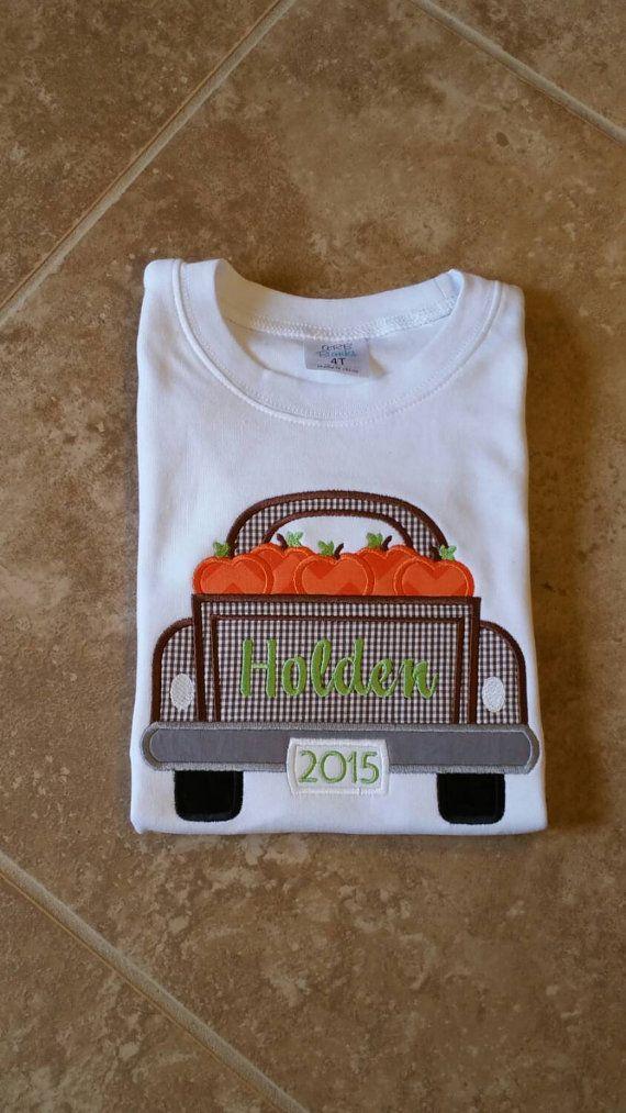 Boys pumpkin truck shirt ,/ thanksgiving shirt  https://www.etsy.com/listing/251622495/boys-pumpkin-truck-applique-shirt-fall