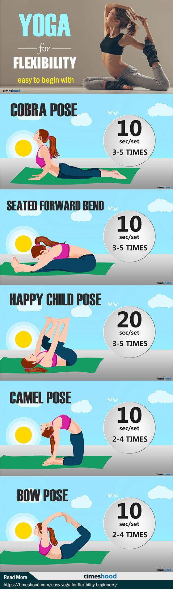 How to improve flexibility for beginners? Give these Yoga poses a try if you want to improve flexibility. These are simple yoga pose which improve flexibility for beginners. Repin to save these poses for later! 5 flexibility yoga poses for beginner level. Flexibility stretches for beginners. Read More: https://timeshood.com/easy-yoga-for-flexibility-beginners/