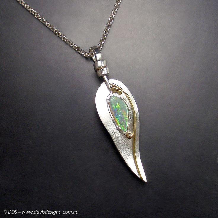 Jill Davis, Jeweller. Australian Natural Beauties. Sterling Silver, 18ct gold and Australian Opal #jewellery #Handmade #silver #designer  #opal #gold