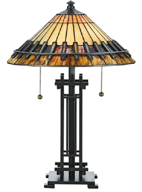 """Tiffany Style Earth_Toned Glass Bronze Colored Finish Handcrafted Table Lamp 22"""" #Quoizel #ArtsCrafts"""
