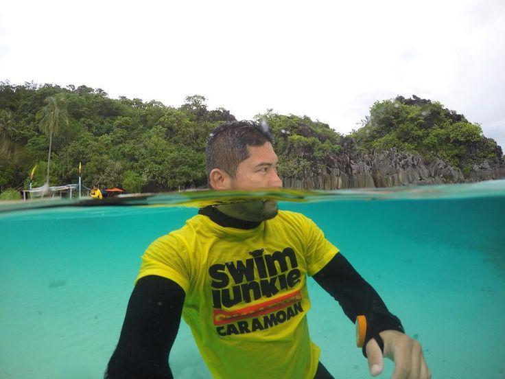 Here's a take on the clear waters of Caramoan islands. #travel #openwater #event #selfie #overunder #underwater #dome #splwaterhousing #swimjunkiechallengecaramoan10k #islandlife #island