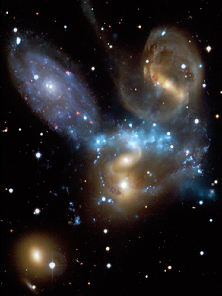 Stephan's Quintet, a compact group of galaxies discovered about 130 years ago and located about 280 million light years from Earth, provides a rare opportunity to observe a galaxy group in the process of evolving from an X-ray faint system dominated by spiral galaxies to a more developed system dominated by elliptical galaxies and bright X-ray emission. Image credit: NASA/Hubble