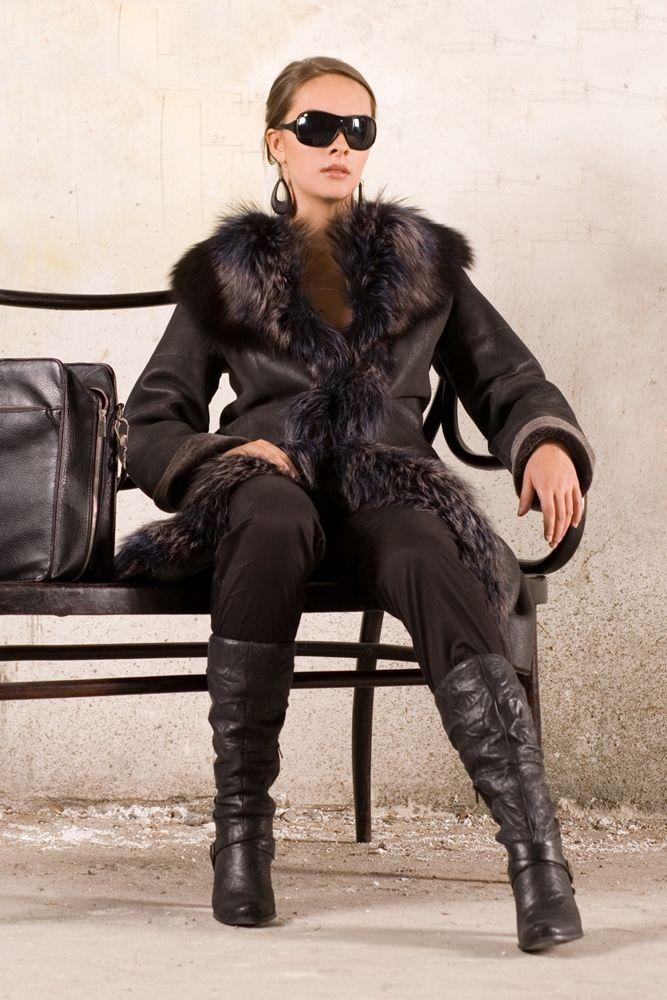 Kożuch damski model: 034 kolor: grafit bryza - kożuchy płaszcze wełniane - szycie odzieży skórzanej Głoda