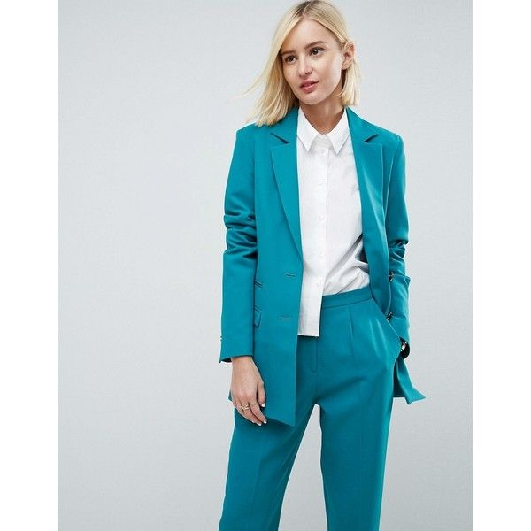 ASOS Tailored Mansy Blazer with Gun Metal Buttons (99 AUD) ❤ liked on Polyvore featuring outerwear, jackets, blazers, green, prom jackets, pocket jacket, party jackets, reversible jacket and blazer jacket