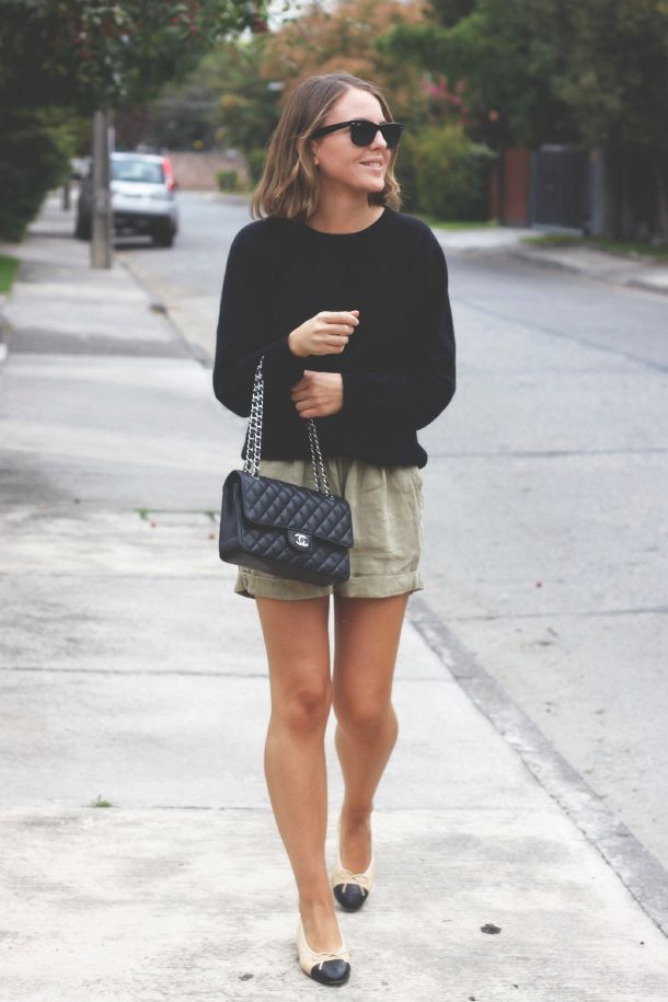 summer outfit: Isabel Marant Etoile shorts, old sweater, Chanel flats and bag
