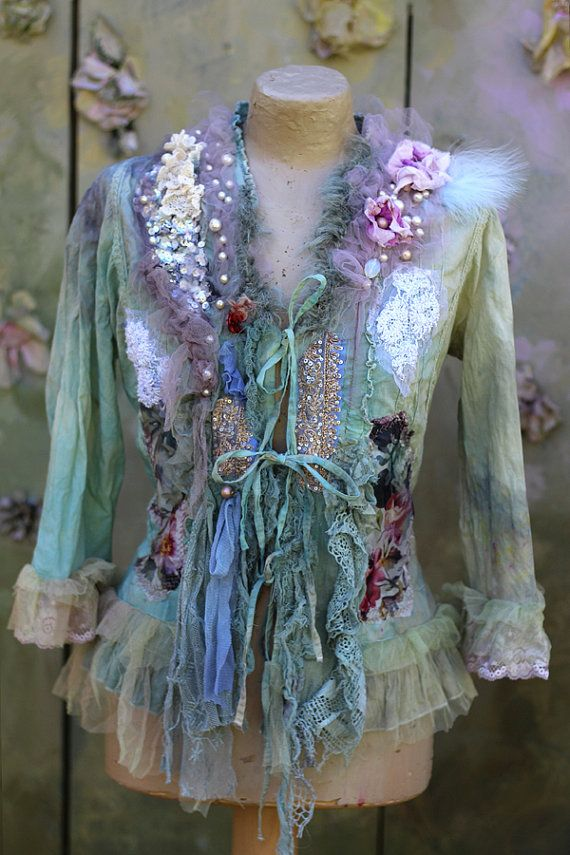 Anemones jacket bohemian romantic  L size altered by FleursBoheme