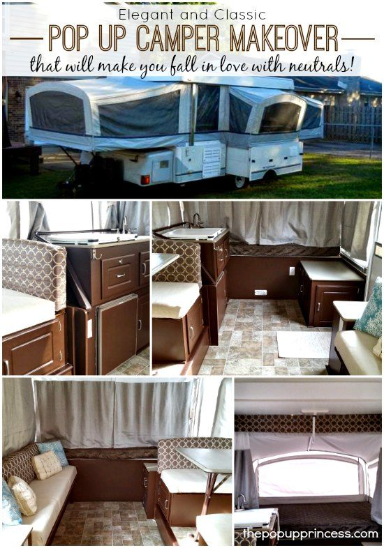 Pop Up Camper Remodel: Cyndie's Pop Up Makeover.  This such an awesome makeover.  She used a great neutral color palette, so she can change out her accent colors easily.  Love it!
