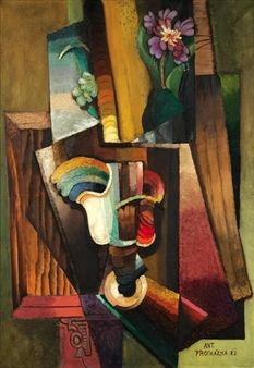 "Still life with vase and bouquet ( Bouquet  at the table) 1922.  Antonin Prochazka  was one of the most significant Czeck avant-garde painters of the first half of the 20 C. He developed Cubism in an unusual way in which key role way played by color; his spectral decomposition of colors brought him very close to Frantisek Kupka. Art theoretician Vincenc Kramar labeled this period as ""orphic""."