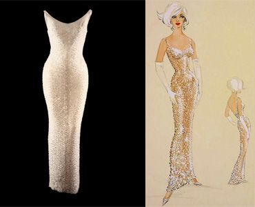 """Marilyn Monroe's famous """"Happy Birthday, Mr. President"""" barely-there gown, designed by Jean Louis, along with his original costume sketch."""