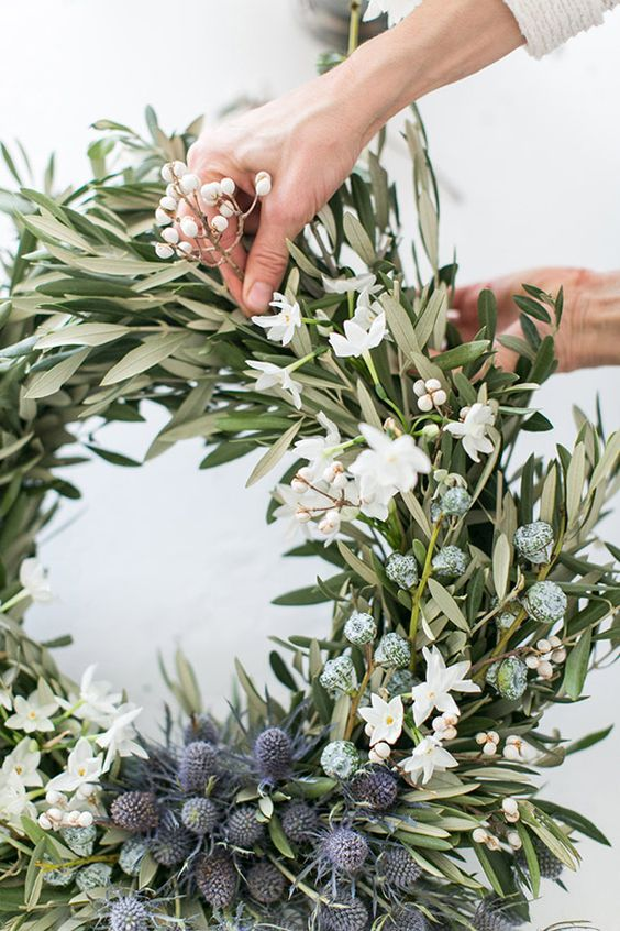 Beautiful fresh Christmas wreath   - also perfect for a winter wedding