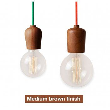Medium Brown Wood Pendant Light with Cord/Ceiling Rose