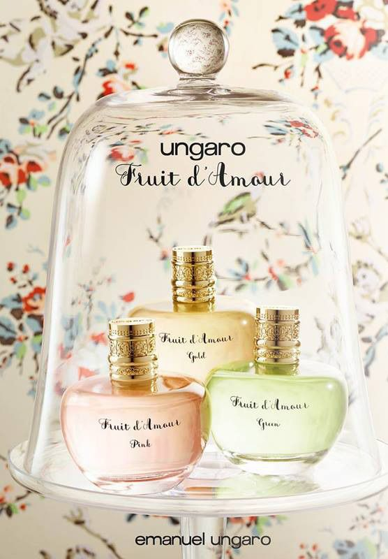 Ungaro presents its new fragrance collection Fruit d'Amour in May 2015. The collection consists of three women's fragrance: Gold, Pink and Green.