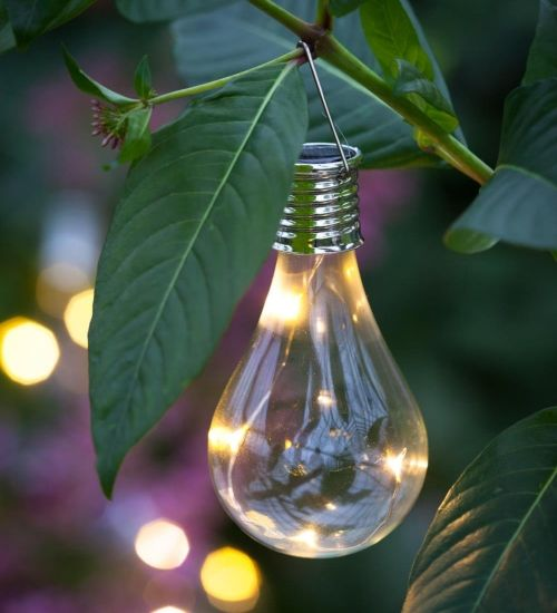 Shaped like a traditional filament light, bulbs to hang in a tree or around your seating area for summer evenings outside. Each bulb has its own individual solar panel. H.14cm each.