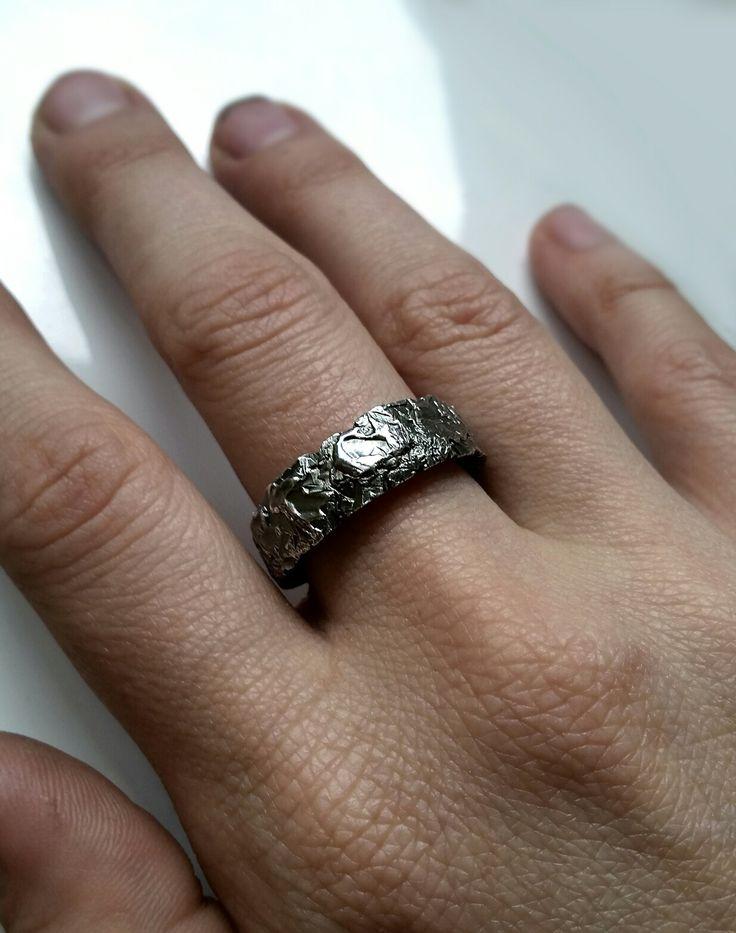 Skin Deep Burn ring, oxidised sterling silver. Handmade by Stephanie Rachael Jewellery