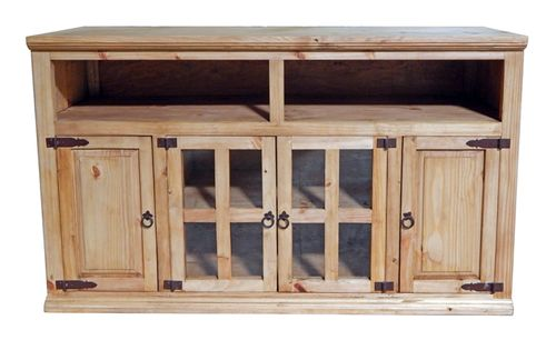 """Rustic Natural Wax Four-Door 60"""""""" TV Stand"""