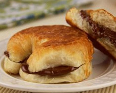 Warm Chocolate Croissant made in a breakfast sandwich maker