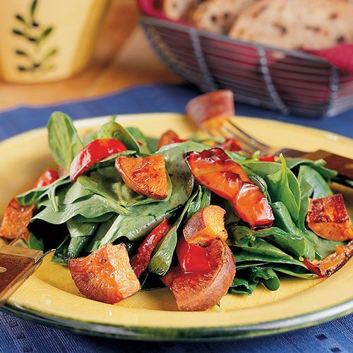 Roasted Sweet Potato Salad  Roast sweet potatoes and red bell peppers together for a delicious mingling of flavors and then place over a bed of spinach or arugula and sprinkle with white balsamic vinegar. Serve this as side dish or add goat cheese and grilled chicken for a satisfying lunch.     Calories: 303