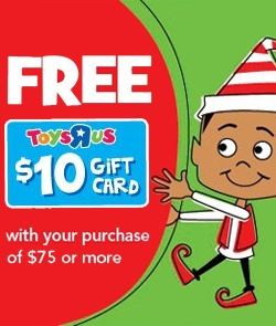 """Free $10 Gift Card When You Spend $75 at Toys """"R"""" Us  *Coupon Expires on Nov 10*  http://womenfreebies.ca/coupons/toys-r-us-10-gc-with-purchase/"""