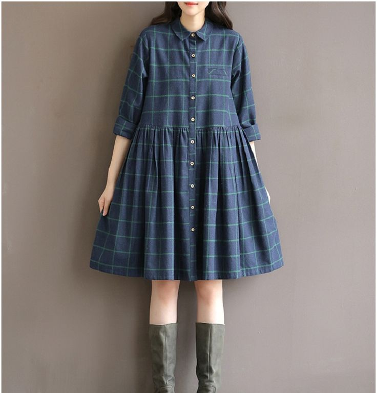 2016 New Spring Autumn Casual Loose Waist Plaid Dress Cotton Plus Size S 2XL Women Clothing Mori Girl Female Princess Dress Robe-in Dresses from Women's Clothing & Accessories on Aliexpress.com | Alibaba Group